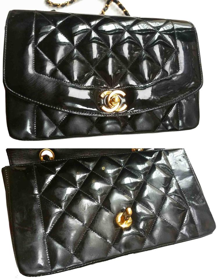 344212060 Chanel Chain Diana Quilted Single As Seen On Princess Black Patent ...