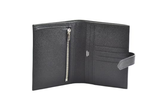 Hermès HERMES Bearn Wallet H Silver Palladium Epsom Noir Black Leather NEW