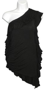 Robert Rodriguez Knit Modal Asymmetrical Top Black