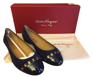Salvatore Ferragamo Suede Patent Leather Blue Flats