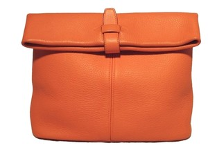 Hermès Clemence Leather Her Rare Rare Orange Clutch