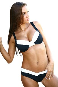 UjENA Ujena,New,Black,And,White,Calypso,2pc,Bikini,Swimsuit,Full,Coverage,Sz,Xl