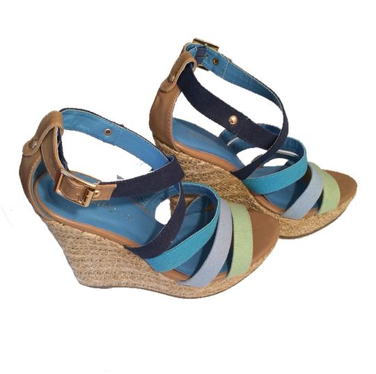 Diva Lounge Multi Blues And Green Wedges