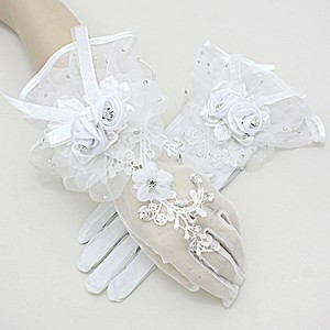 Beautiful White Flared Top Crystal Accent Flower Stretch Bridal Wedding Gloves