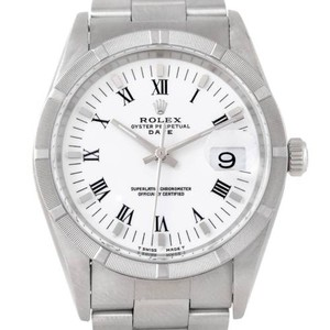 Rolex Rolex Date Mens Steel White Dial Watch 15210