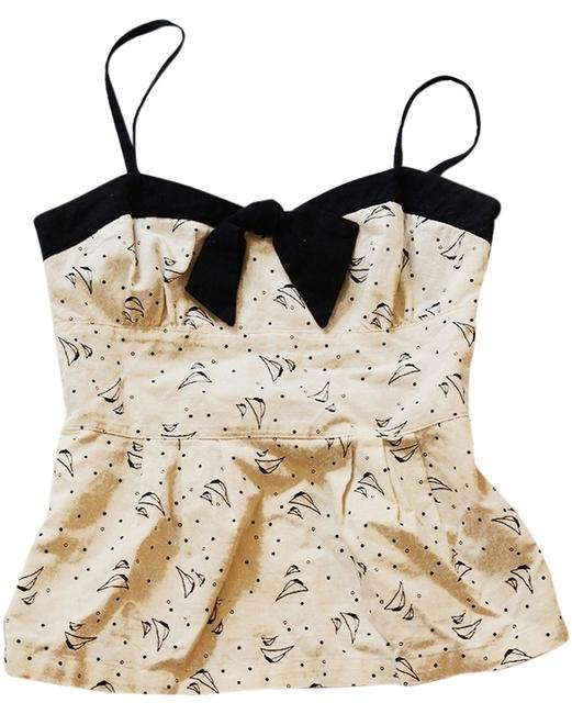 Cooperative Strapless Spaghetti Print White Bow Top Ivory and Black