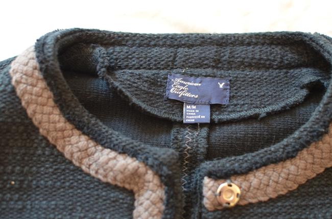 American Eagle Outfitters Tweed Cotton Tweed Contrast Trim Navy Jacket