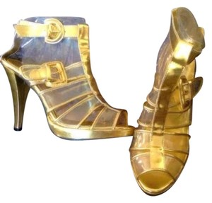 Anne Michelle Gold & Clear Pumps