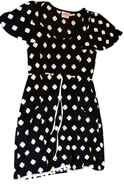 Juicy Couture short dress black And White Terrycloth Short-sleeve Embroidered Print Pom-pom Drawstring Waist on Tradesy