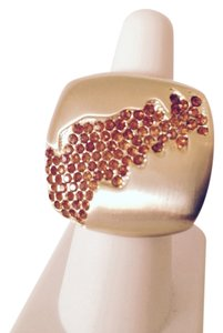 Embellished by Leecia Satin Finish Gold-Tone Orange CZ Modern Ring, Size 7