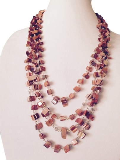 Kenneth Cole Kenneth Cole Orange Shell Gold-Tone Multi-Strand Necklace Only! Matching Pieces Sold Seperately.