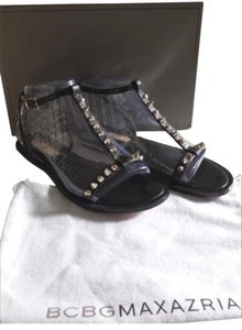 BCBGMAXAZRIA Black/gold Studs Sandals