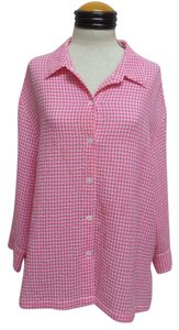 White Stag Button Down Shirt Pink and White Checkered
