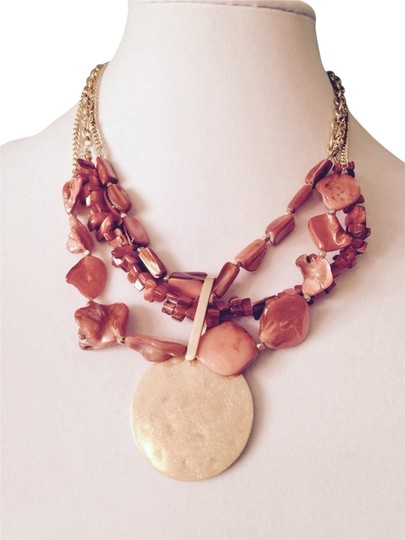 Kenneth Cole Kenneth Cole Orange Mixed Shell With Gold-Tone Disc Multi-Strand Necklace Only! Matching Pieces Sold Seperately.
