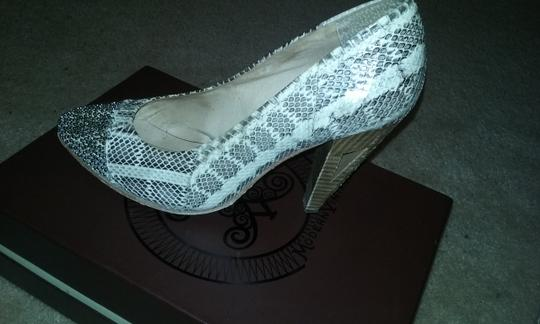 Modern Vintage Cream and brown genuine snakeskin Pumps