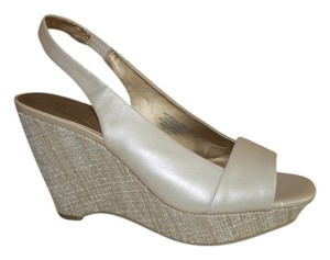 AK Anne Klein Slingback Wedge Tan shimmer Wedges