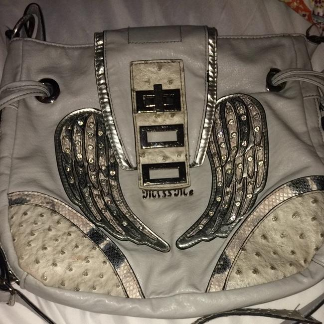 Item - Angel Wings Grey/Sliver Leather/Rhinestones Cross Body Bag