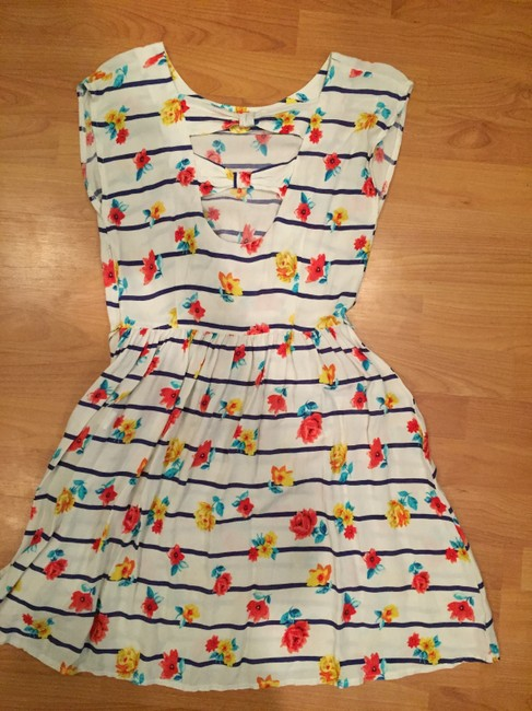 French Atmosphere short dress White Floral on Tradesy