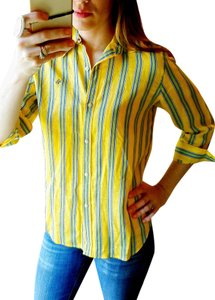 Lauren Ralph Lauren Linen 3/4 Sleeve Striped Button Down Shirt Yellow