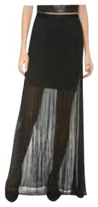 Alice + Olivia Transparent Sheer Silk Skirt Black