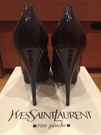 Saint Laurent Brown Patent Leather Pumps