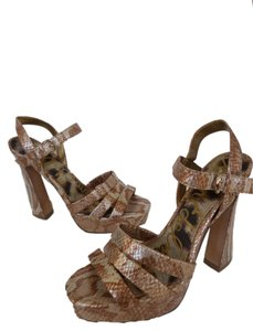 Sam Edelman Bronze Silver Gold Snakeskin Strappy Metallic Platforms