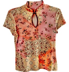 Xhilaration Paisley Keyhole Stretchy Top floral