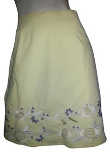 Willow Ridge Embroidered A-line Skirt Yellow