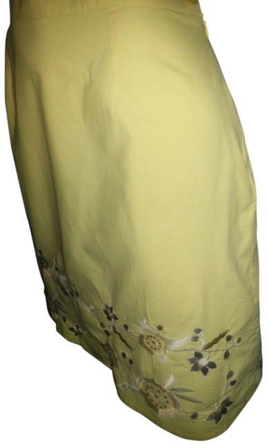 Willow Ridge Embroidered A-line Cotton Skirt Yellow