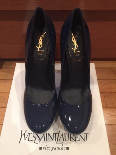 Saint Laurent Dark Blue Patent Leather Pumps