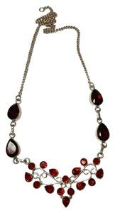 Other New Garnet Gemstone 925 Silver Bib Necklace J909