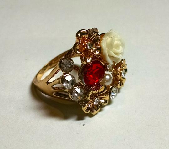 Other New 14K Gold Filled Cubic Zirconia Pearl Cocktail Ring Large Size 9.5 Red J910