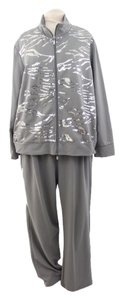 Woman Plus Size Sequined Grey Cotton Athletic Running Suit