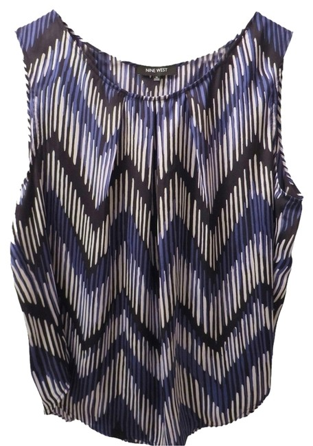 Nine West Top Black, White & Purple