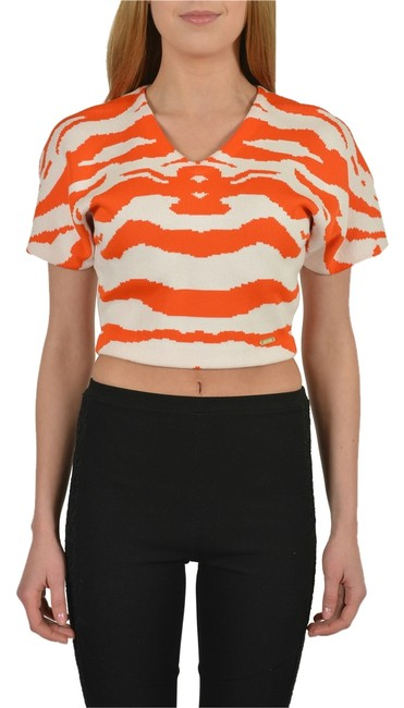 Preload https://item3.tradesy.com/images/just-cavalli-multi-color-orange-deep-v-neck-sleeves-women-s-cropped-tee-shirt-size-4-s-3186652-0-0.jpg?width=400&height=650