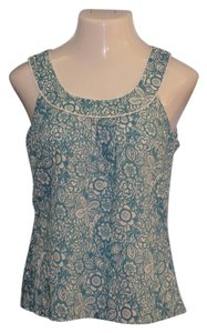 Ann Taylor LOFT Top Turquoise Blue/Green & White