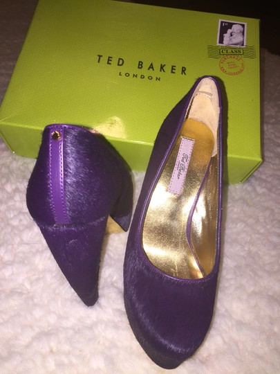 Ted Baker *features Banana Heel *branded With Stud *signature Gold Metallic Leather Used For Lining And Sock *almond Toed Purple Platforms