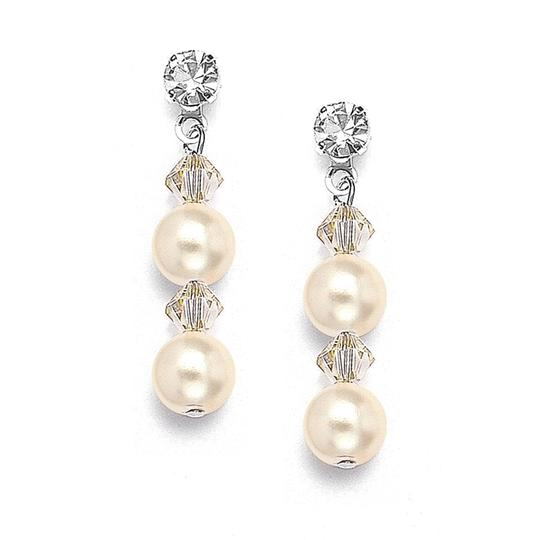 Mariell Honey Pearl Crystal Dangle - Pierced 235e-ho-s Earrings