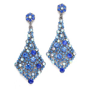 Mariell Royal Blue Crystal Bridesmaids Or Prom Earrings 3441e-ry