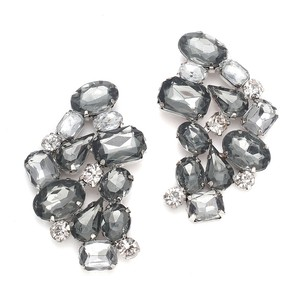 Mariell Wedding Faux Gem Black Diamond Cluster Earrings 3442e-je