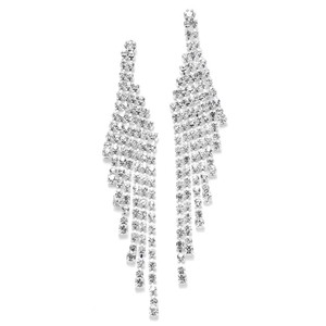 Mariell Silver Cascading Rhinestone Prom Or 3467e Earrings