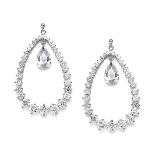 Mariell Breathtaking Cubic Zirconia Bridal Hoop Earrings 3509e