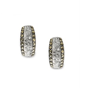 Mariell Cubic Zirconia & Marcasite Wedding Demi Hoop Earrings 3608e