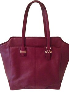Coach Red Leather Classic Tote in Burgundy