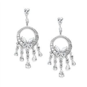 Mariell Dainty Cubic Zirconia Chandelier Earrings 3635e