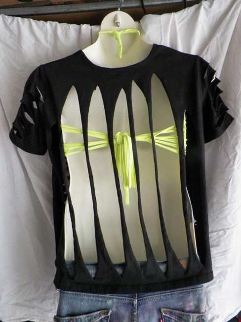 Other Fashion Felon X Custom Hand Altered Hippie Fashions Affordable Fashions T Shirt black/ neon yellow
