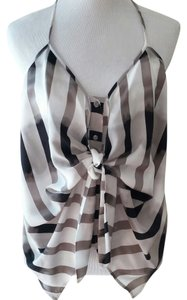 BCBGeneration Striped Black, grey and white Halter Top