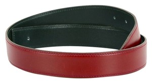Hermès Hermes Box Leather Belt Strap Reversible Rouge Burgundy Green Sz 70 Vintage DoPEEK!