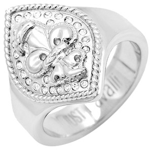 Just Cavalli Just Cavalli Crystal Silver Fleur de Lis Ring Size 9