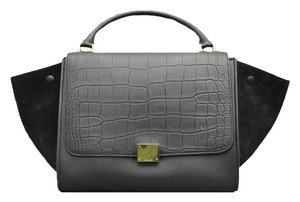 Céline Celine Embossed Leather Tote in Black